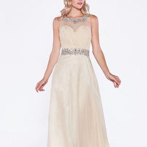 Illusion Neckline A-Line Long Dress CD7933